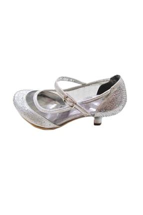 Mini Angel Topuklu Kız Çocuk Abiye Ayakkabı Gümüş & Lame, 32-37 Numara