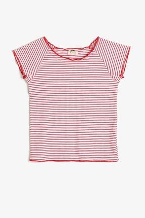 Koton Kids Kırmızı Çizgili Kız Çocuk T-Shirt