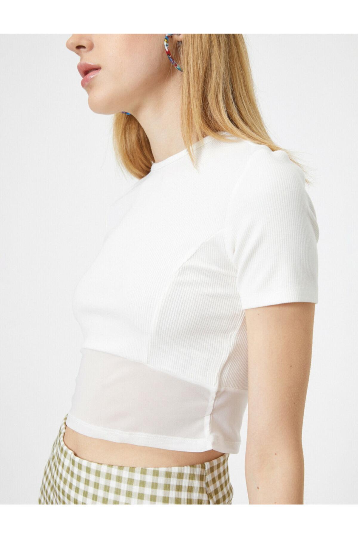 Koton Kadın Ekru T-Shirt 0YAL18625IK 2