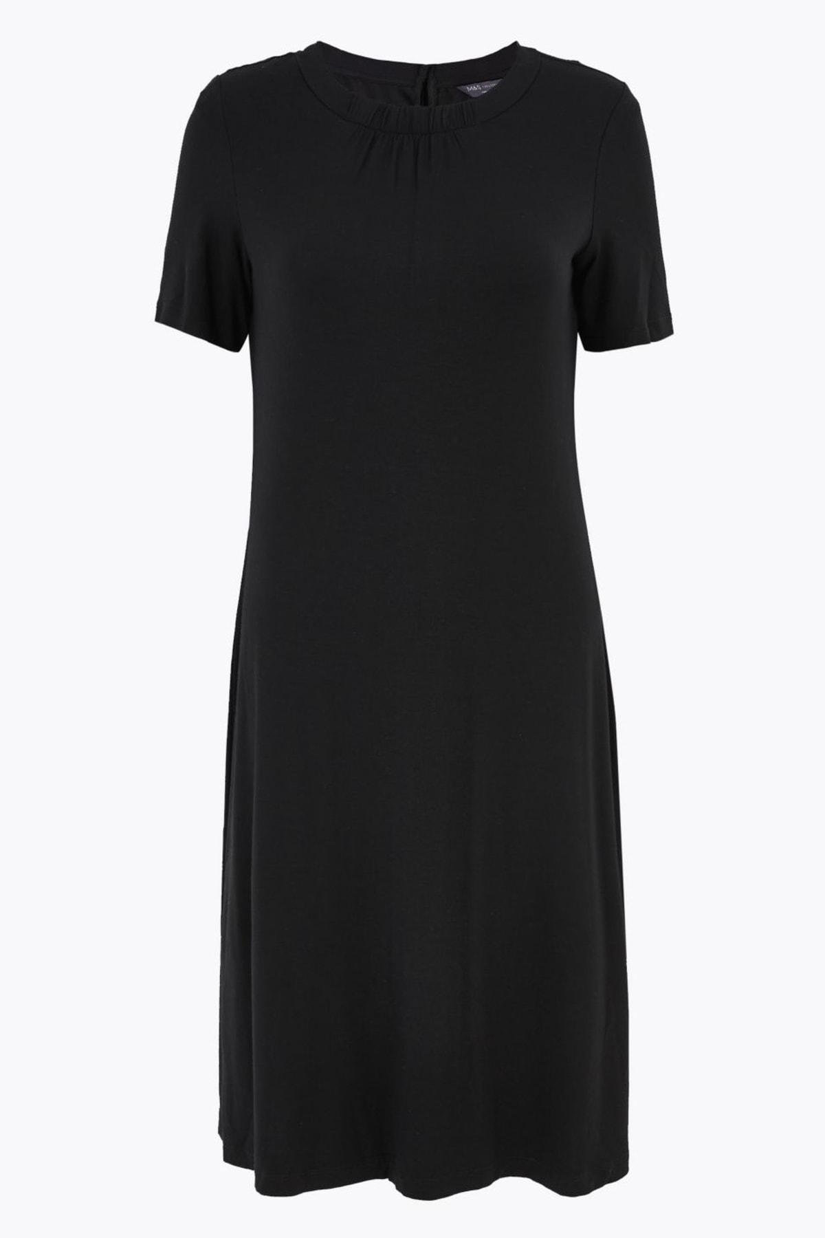 Marks & Spencer Kadın Siyah Kısa Kollu Swing Elbise T42008385 1