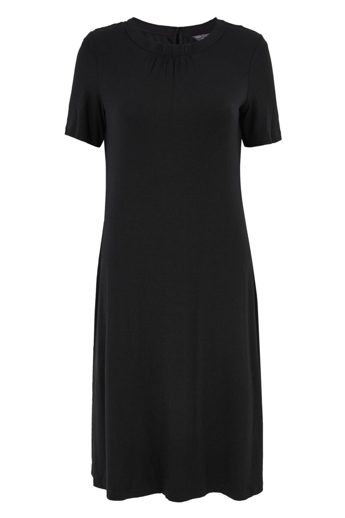 Marks & Spencer Kadın Siyah Kısa Kollu Swing Elbise T42008385 2