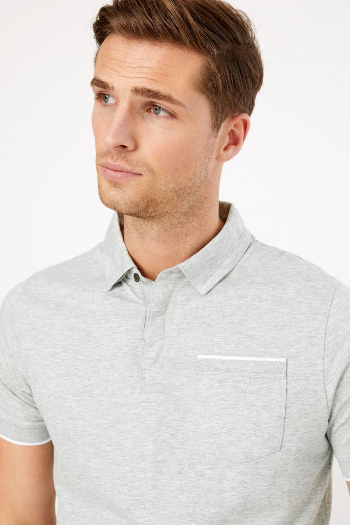 Marks & Spencer Erkek Gri Kısa Kollu Polo Yaka T-Shirt T28004885A 2