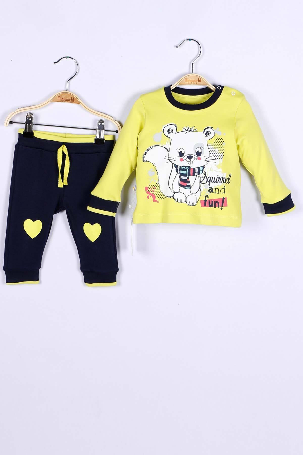 Miniworld Fıstık Yeşili Kız Bebek Sweatshirt Pantolon 2Li Takım 1