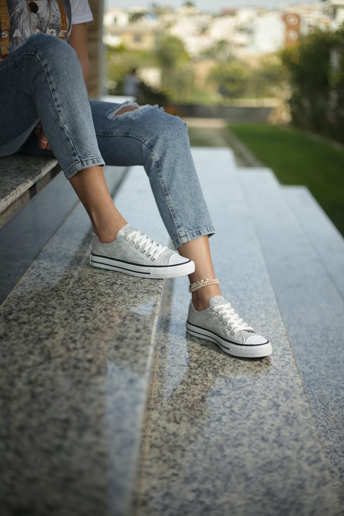 ESPARDİLE Gümüş Kadın Spor Ayakkabı 1