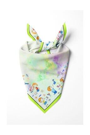 Modabutik Çocuk Desenli Fular Yeşil