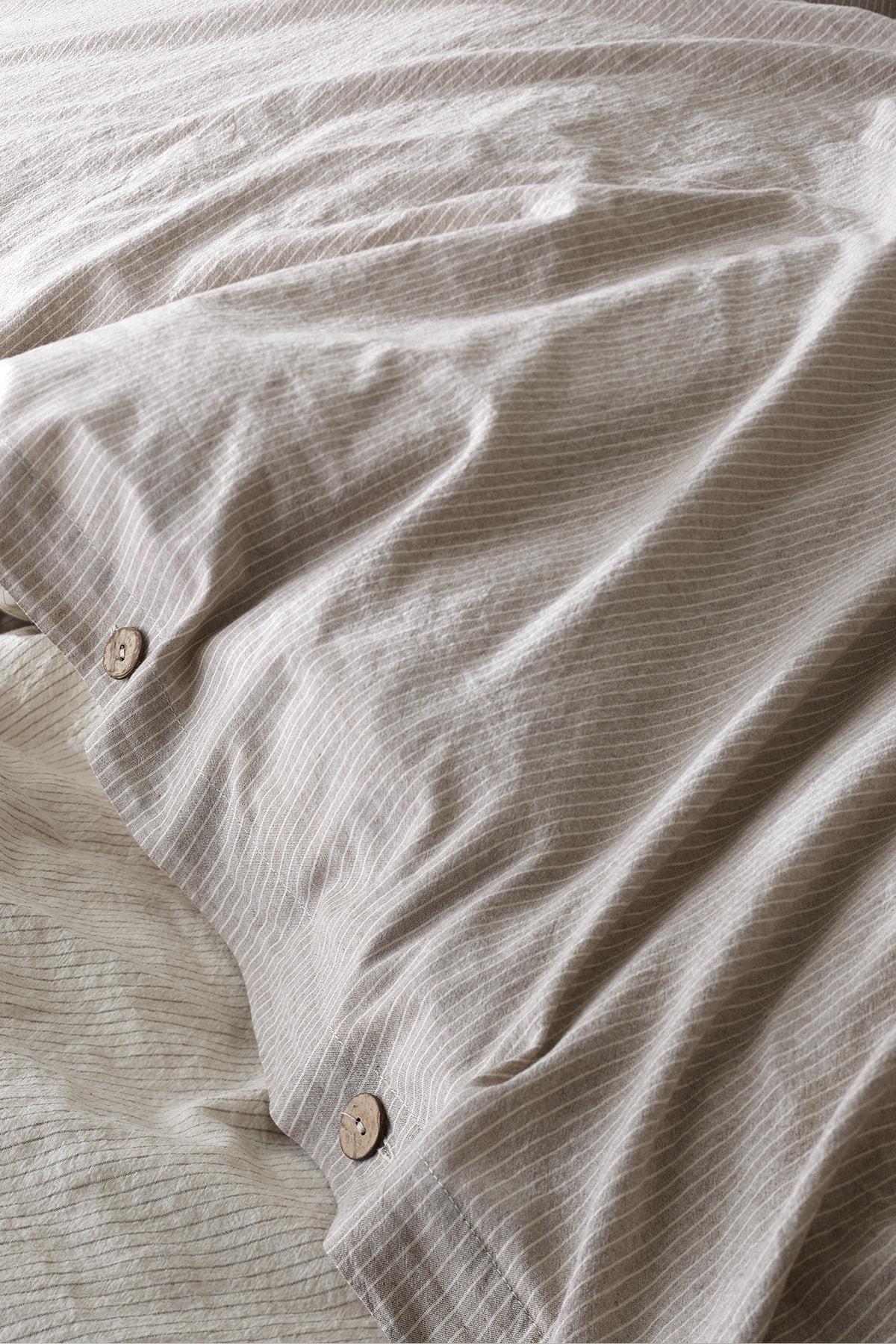 Berolige Cottage %100 Pamuklu Çift Kişilik Yıkamalı İplik Boya Çizgili Nevresim Takımı Kahverengi 2