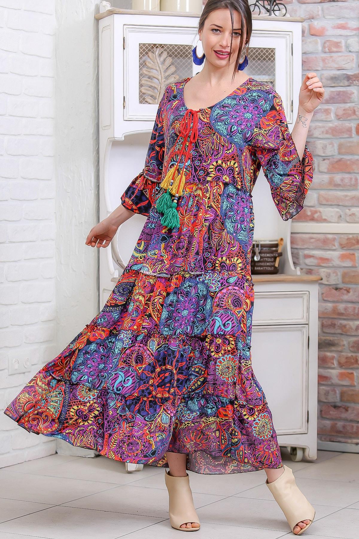 Chiccy Kadın Mor Bohem Tribal Desenli El İşi Püskül Detaylı Salaş Elbise M10160000EL96973
