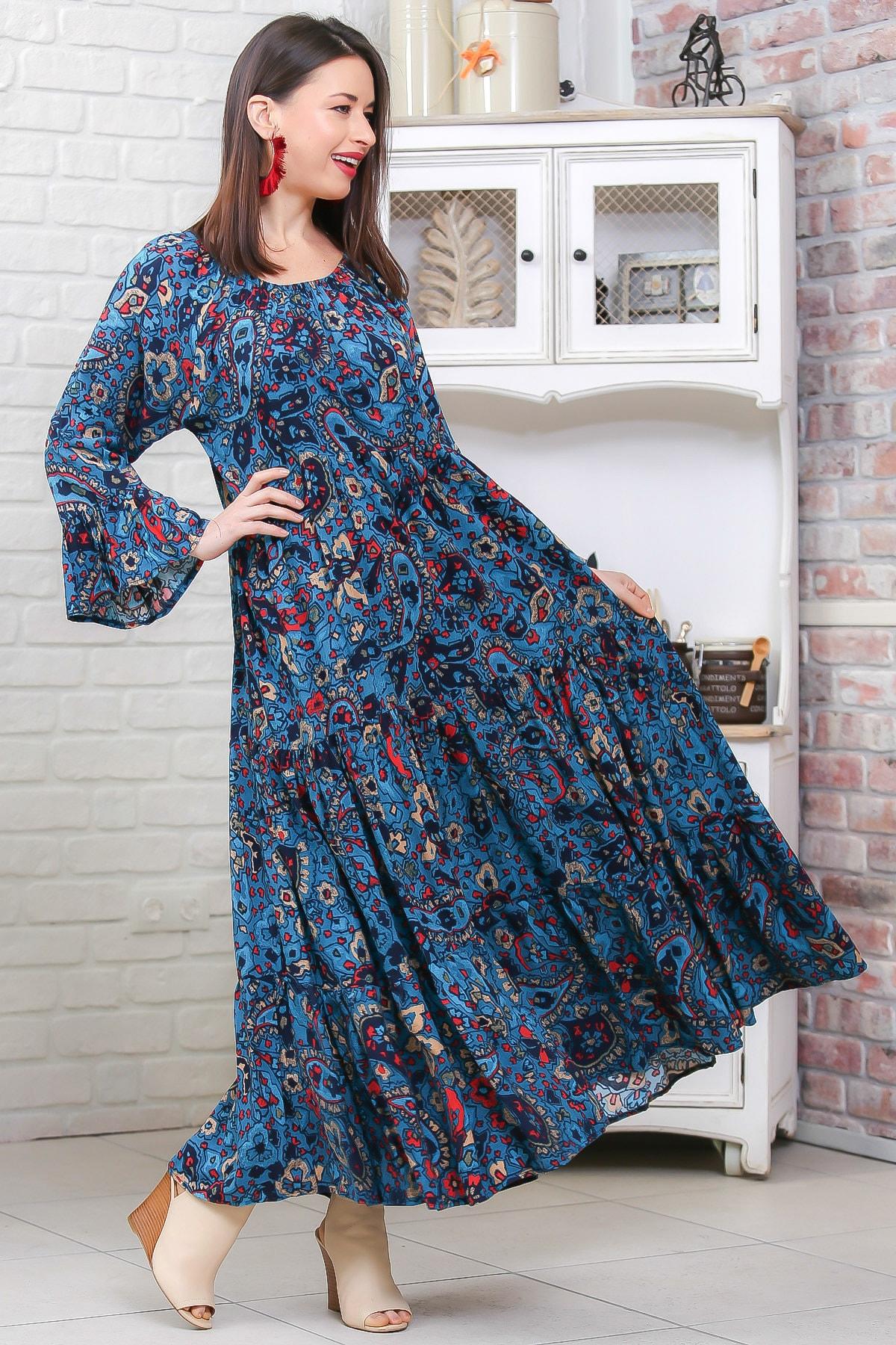Chiccy Kadın Petrol Mavisi Bohem Çiçek Desenli Kolları Volanlı Dokuma Elbise M10160000EL96973