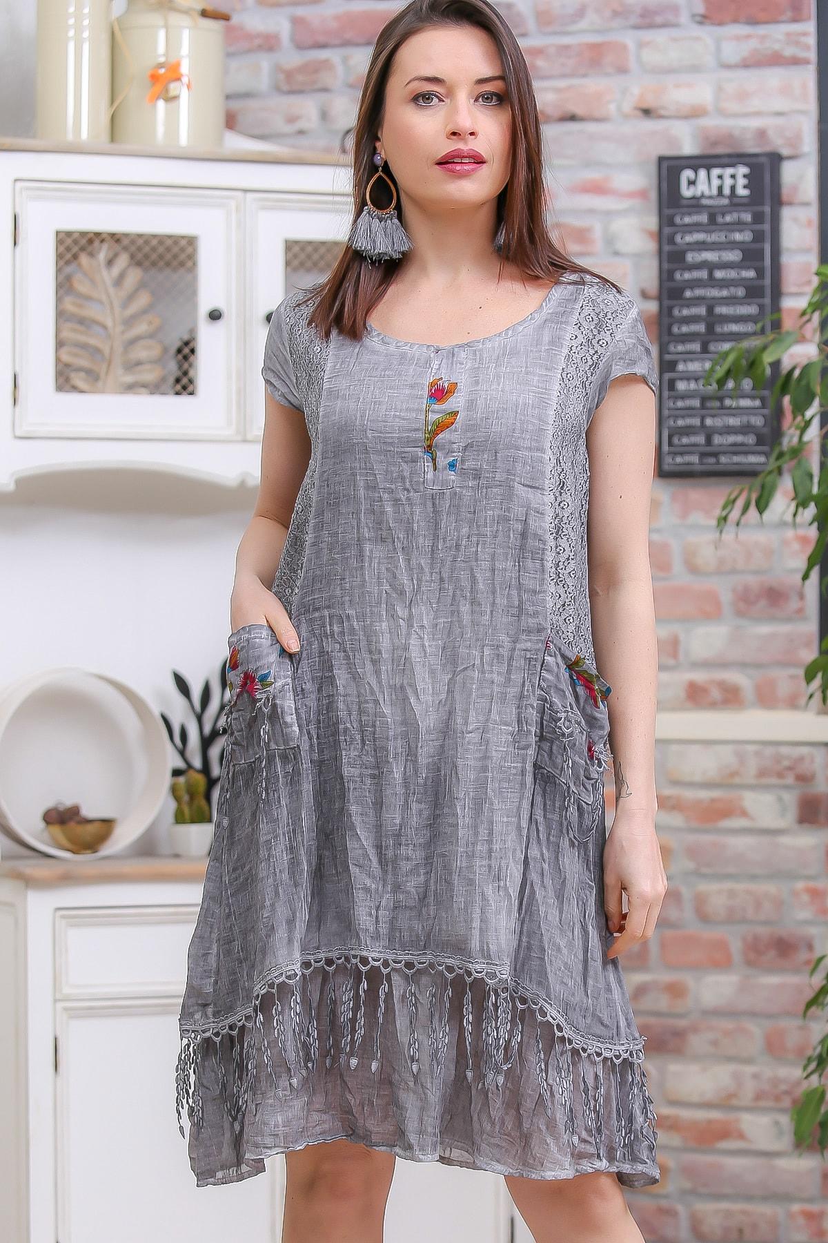 Chiccy Kadın Gri Bohem Cep Detaylı Etek Ucu Saçaklı Yıkamalı Astarlı Elbise M10160000EL96957