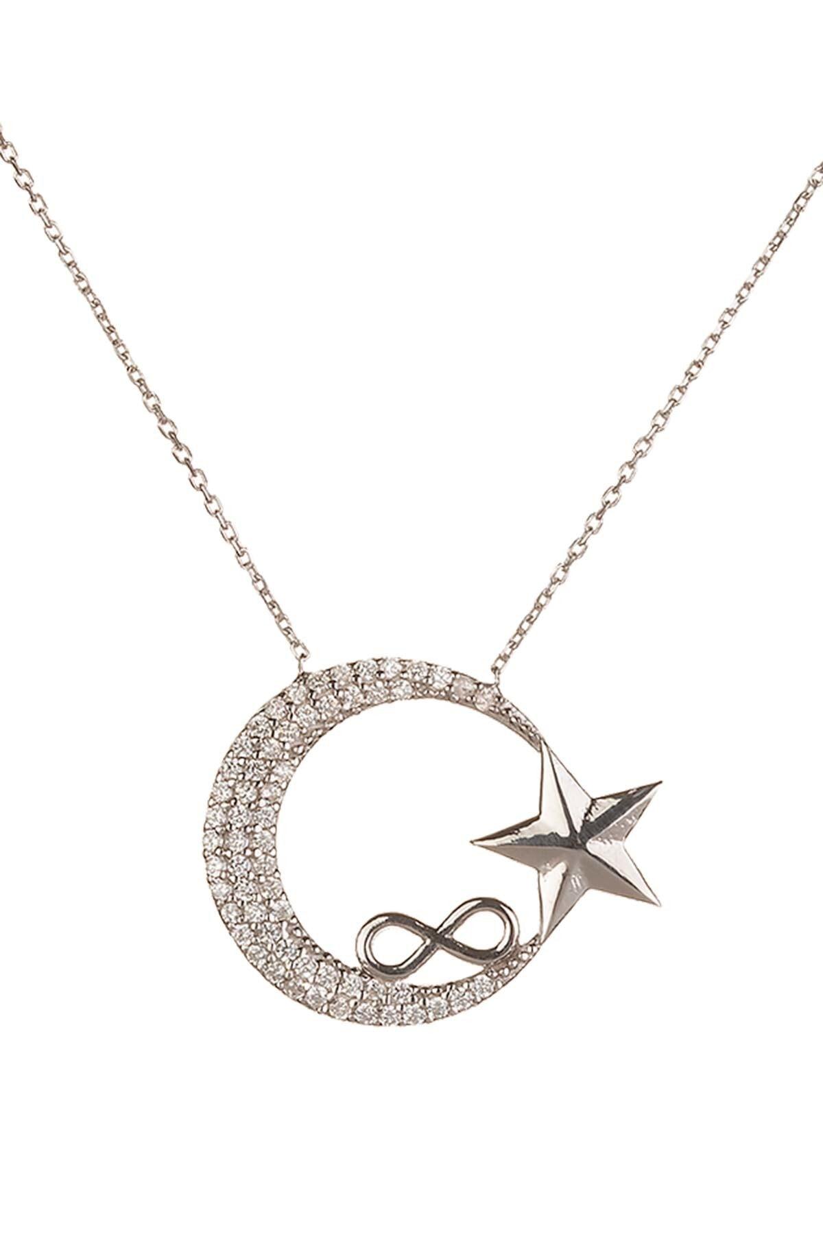 Anı Yüzük Sonsuzluk Motifli Ay Yıldızlı Bayan Gümüş Kolye