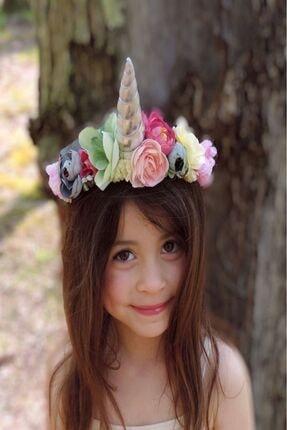 Kokoş Özel Çiçekli Unicorn Taç.doğum Günü Saç Aksesuarı