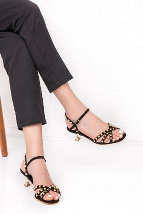 Gondol Süet Deri Zımba Detaylı Şık Topuklu Ayakkabı