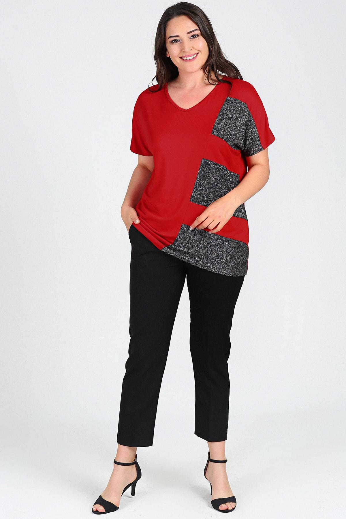 Moda Cazibe Büyük Beden Sim Detaylı Kısa Kol Bluz 2