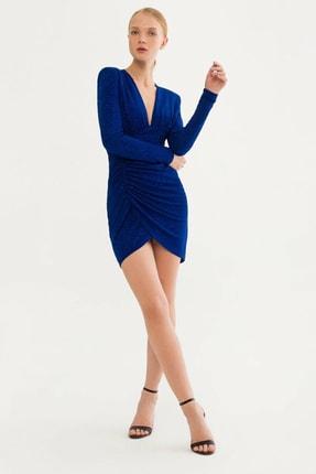 adL Kadın Saks V Yaka Elbise 12438018000022