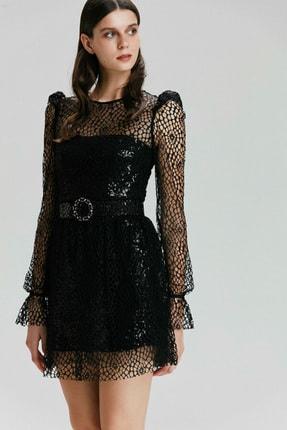 adL Kadın Siyah Mini Payet Elbise 124C1434000001