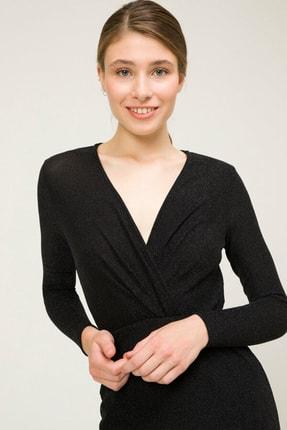 adL Kadın Siyah Kruvaze Elbise 12435814001001