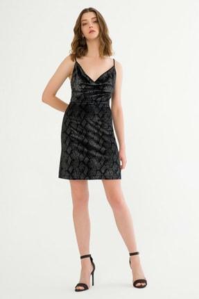 adL Kadın Siyah Askılı Kısa Elbise 12437929000001