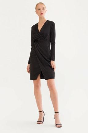 adL Kadın Siyah Kruvaze Kadife Elbise 12437931000001