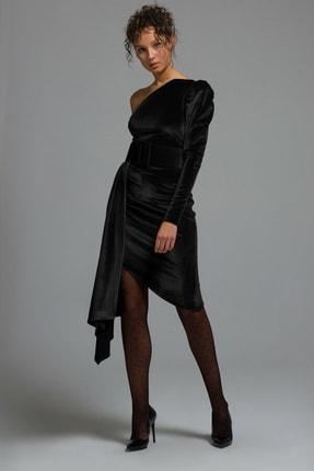 adL Kadın Siyah Tek Omuz Kadife Elbise 12437858000001