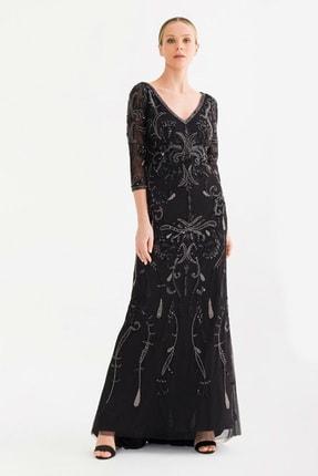 adL Kadın Siyah Boncuklu Elbise 12437910000001