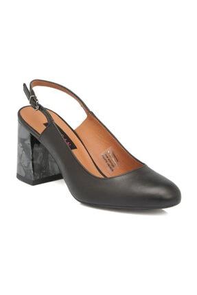 Tergan Siyah Deri Kadın Ayakkabı 64184A55