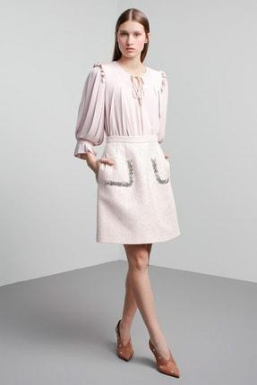Machka Kadın Koyu Pudra İp Bağcık Yakalı Pilili Kol Bluz MS1200006040167