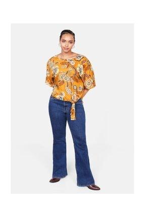 Violeta by MANGO Kadın Hardal Rengi Düğüm Detaylı Çiçekli Bluz 57035782