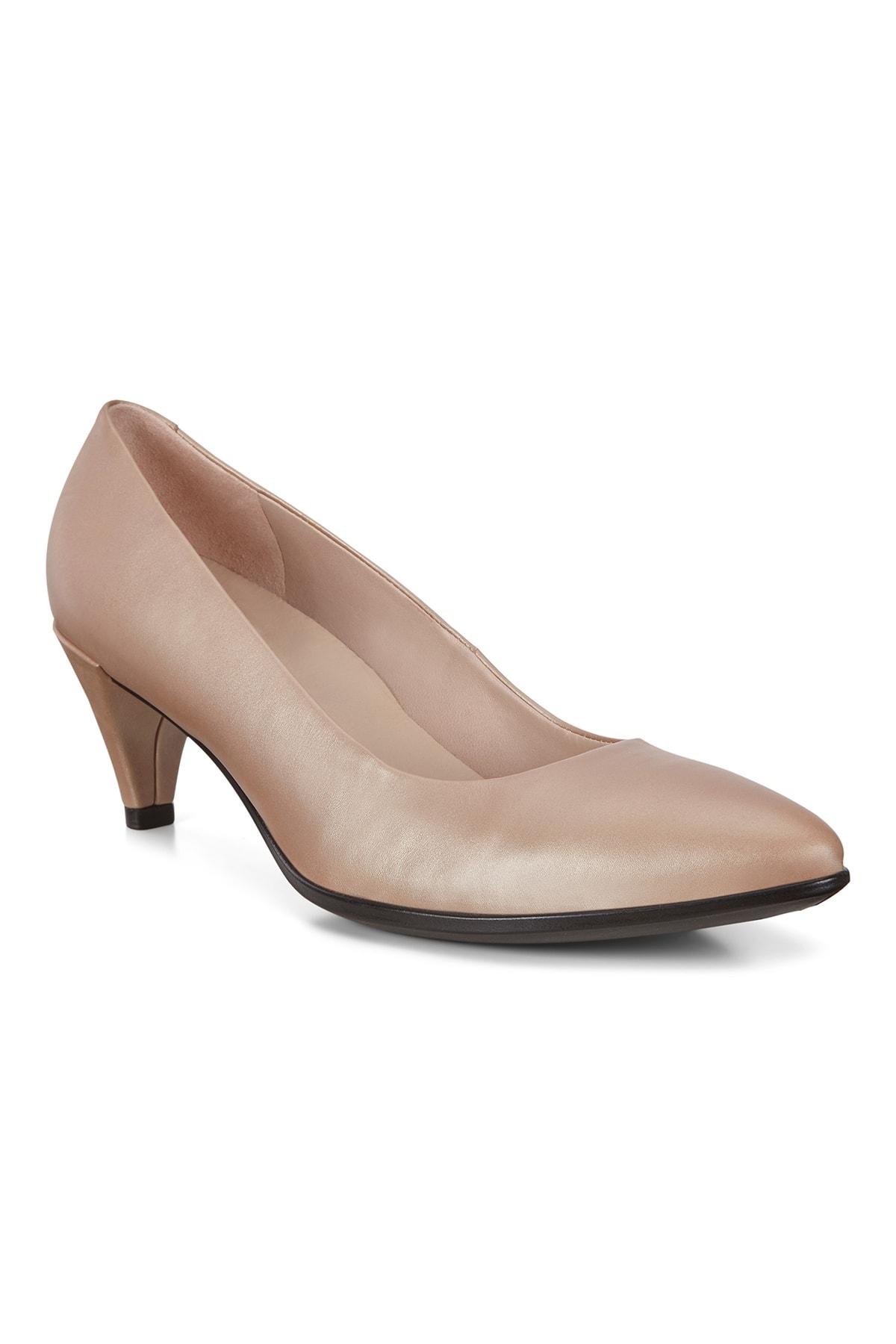 Ecco Kadın Klasik Topuklu Ayakkabı Shape 45 Pointy Sleek Champagne Metallic Bej 263903