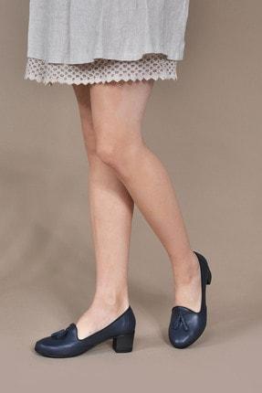 Vizon Ayakkabı Kadın Lacivert Klasik Topuklu Ayakkabı Vzn20-018y