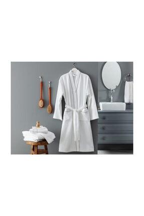 Madame Coco Piano Kimono Unisex Bornoz -beyaz