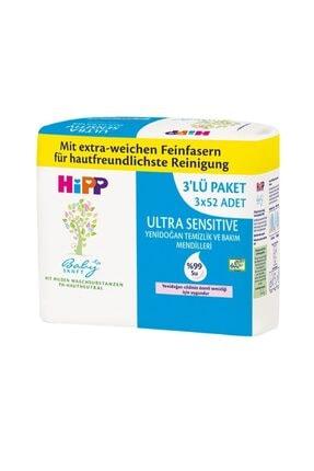 Hipp Ultra Sensitive Yenidoğan Temizlik ve Bakım Islak Mendili 3x52li
