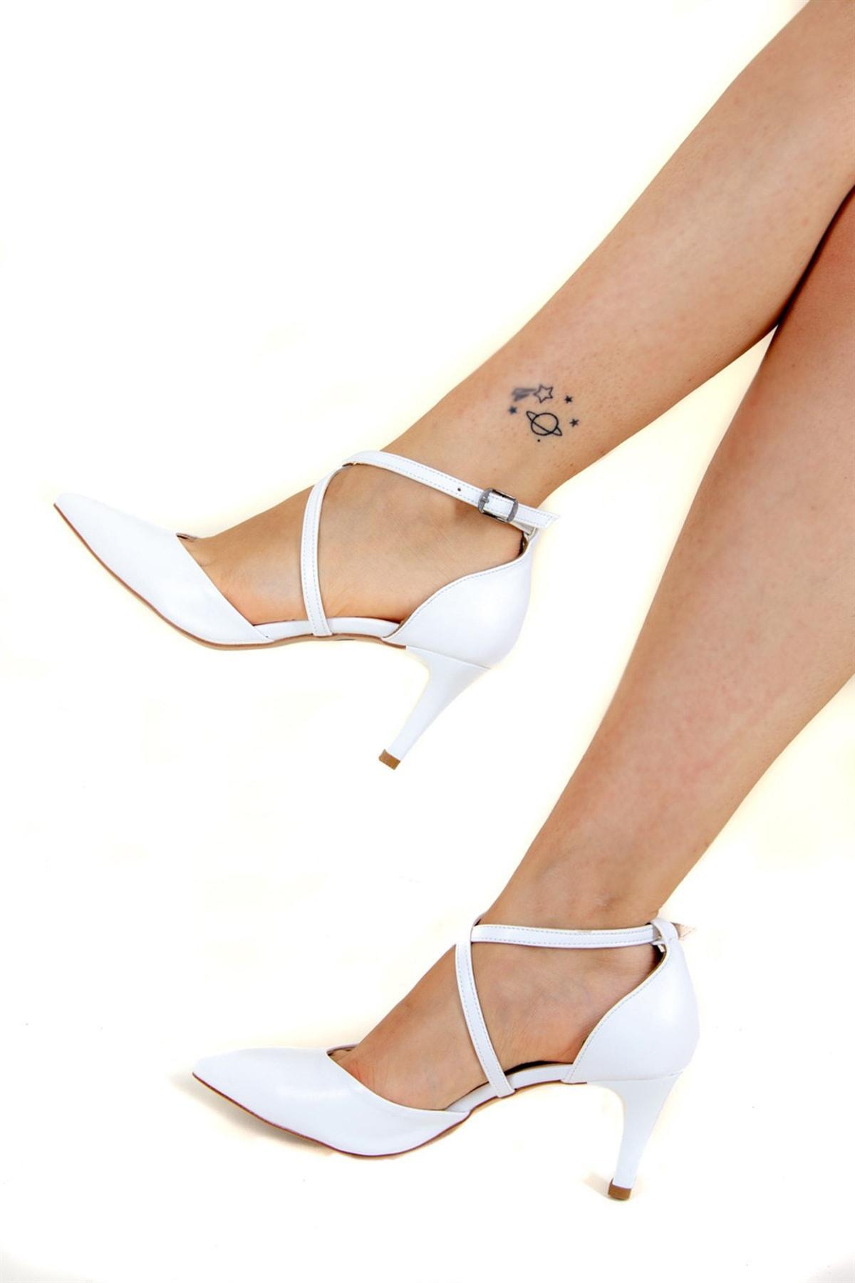 Fox Shoes Beyaz Kadın Topuklu Ayakkabı D654054809 1