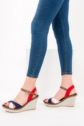Fox Shoes Lacivert Beyaz Kırmızı Kadın Dolgu Topuklu Ayakkabı 9674040205