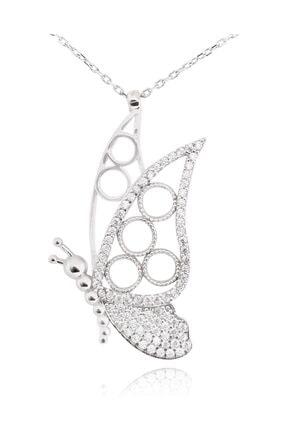 Chavin Taşlı Kelebek Gümüş Kadın Kolye cu59