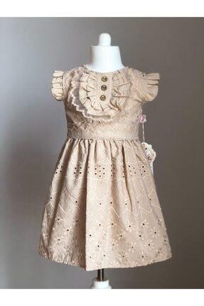 Buse&Eylül Bebe Vizon Fisto Kumaş Düğme Detaylı Kız Çocuk Elbisesi