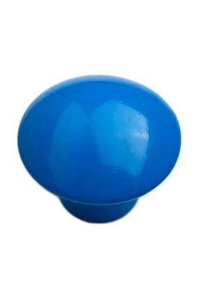 Arwino 5 Adet Parlak Mavi Mantar Düğme Çocuk Odası Vestiyer Dolap Çekmece Kapak Kulpu