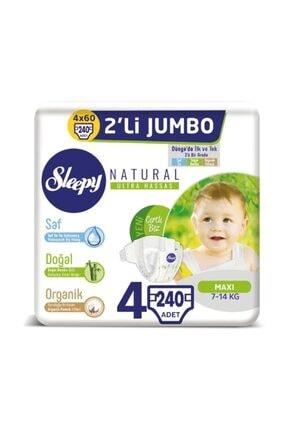 Sleepy Natural Bebek Bezi 4 Beden Maxi 4x2'li Jumbo 240 Adet