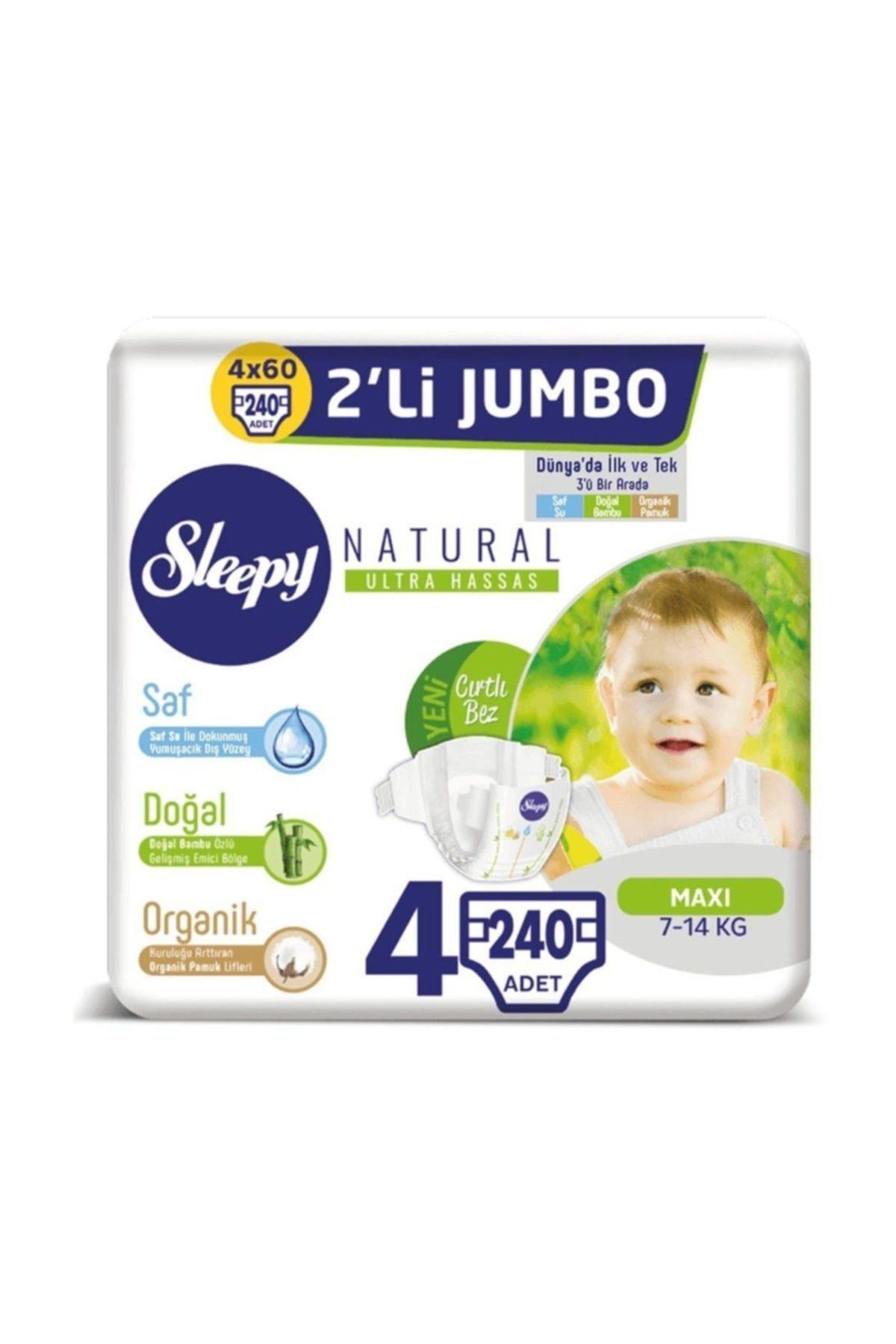 Sleepy Natural Bebek Bezi 4 Beden Maxi 4x2'li Jumbo 240 Adet 1