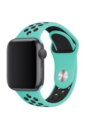 Melefoni Apple Watch 42 mm Spor Delikli Kordon Silikon Kayış Su Yeşili