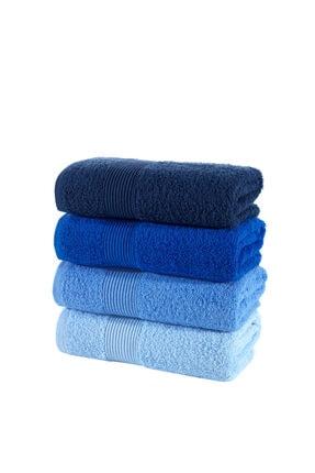 Nakkısh %100 Pamuk Renkli 4'lü Havlu Seti - Mavi