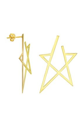 Chavin Davut Yıldızı Büyük Boy Yıldız Kadın Gümüş Küpe gk033