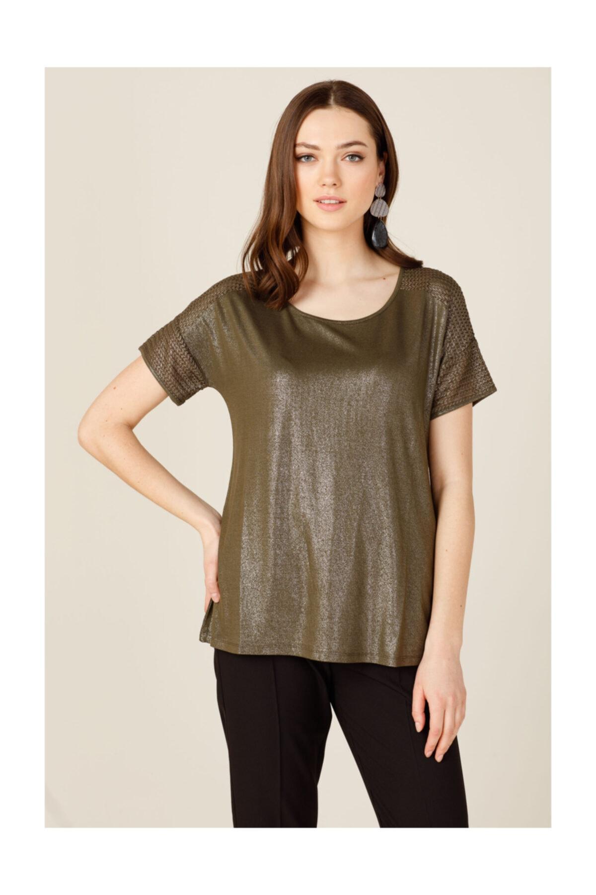ON Kadın Sıfır Yaka File Detaylı T-shirt 1