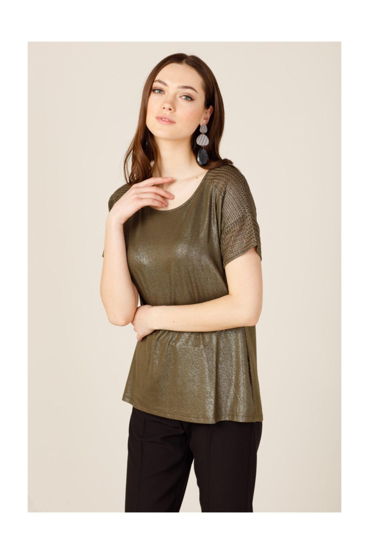 ON Kadın Sıfır Yaka File Detaylı T-shirt 2