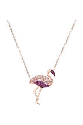 Chavin Rose Flamingo Zirkon Taşlı Gümüş Kolye Dz49rs