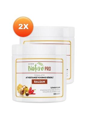 AVON Nature Pro At Kestanesi ve Kırmızı Biberli Balsam 500 ml İkili Set