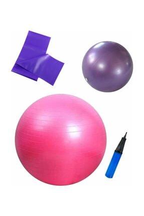 Povit 3'lü Pilates Set - 65 Cm Pembe Top + 25 Cm Mor Top + Mor Bant