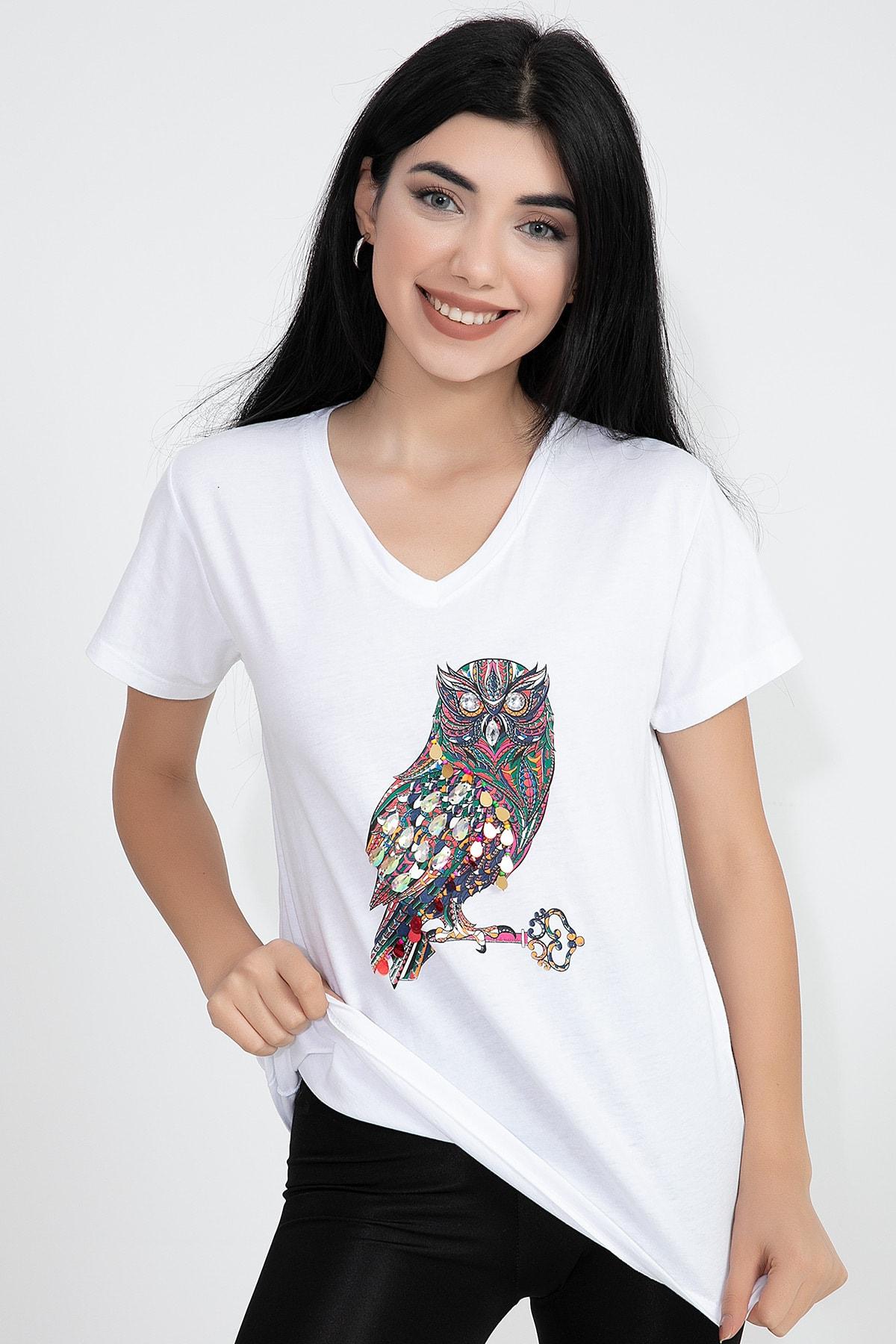 VAPUR TEKSTİL V Yaka Baykuş Baskı Pullu Taşlı Kadın T-shirt 2