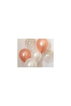 Happyland 30 Adet Metalik Beyaz-toz Pembe (bakır)-şeffaf Balon, Helyum Uçan