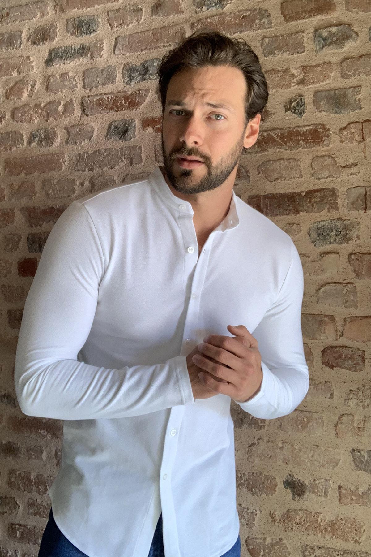 TRENDYOL MAN Beyaz Erkek Hakim Yaka Pike Örme Uzun kollu Gömlek TMNSS20GO0293 1