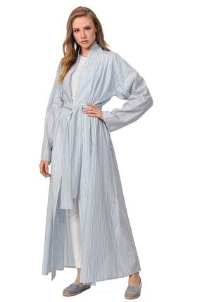 Mizalle Sim Çizgili Kimono (Mavi)